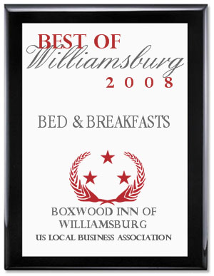 This Williamsburg B&B was awarded the City of Williamsburg Beautification Award 2005